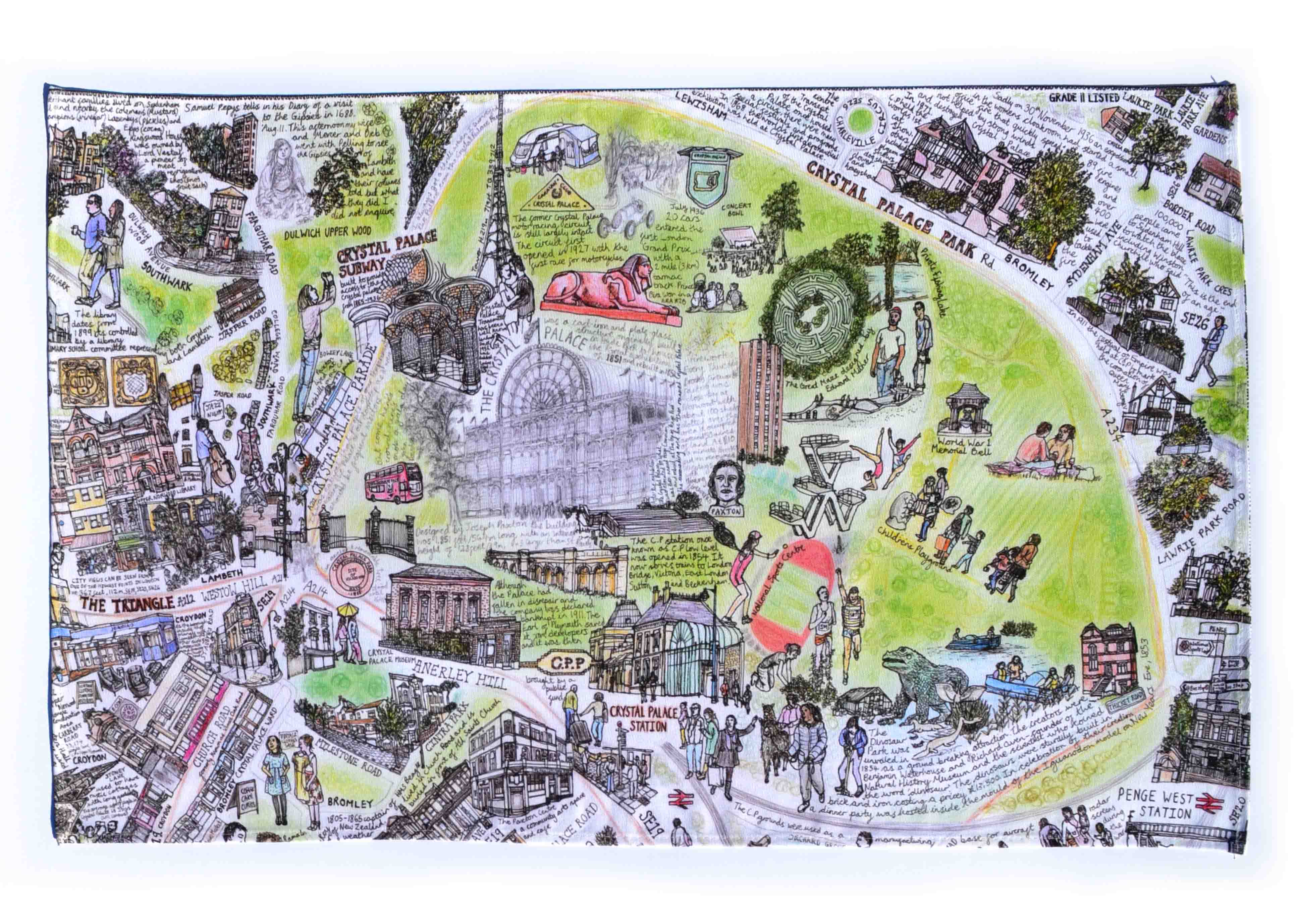 3d778dfc Crystal Palace Park Tea Towel | DRAWN BY HAND