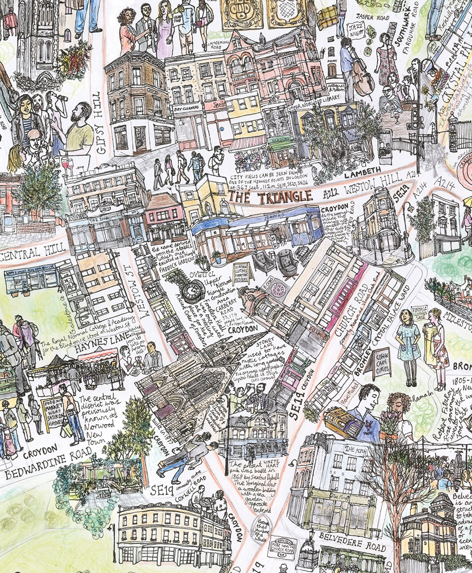Map Of Central London To Print.The Triangle Crystal Palace A3 350g Print