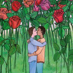 men love lgbt card illustration