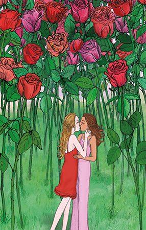 lesbian love card illustration