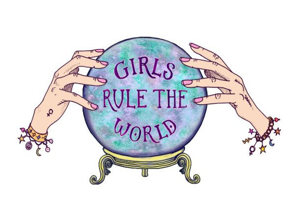 a3 illustration girls rule the world crystal ball
