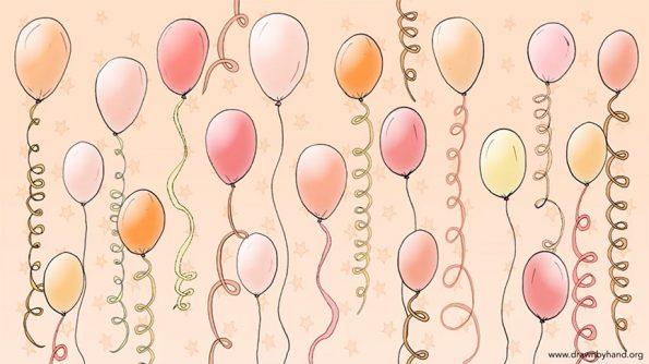 Orange Balloons Zoom Party Virtual Background