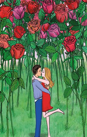 love couple rose romantic card