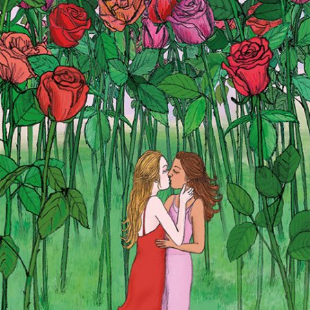 gay love card lesbian kiss illustration