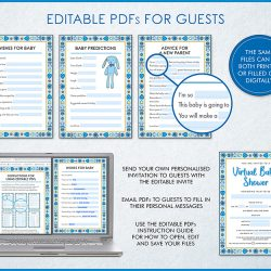 blue boys virtual baby shower zoom invite