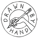 drawn by hand illustration logo